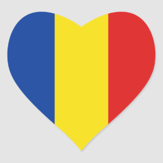 Romania Flag Heart Sticker