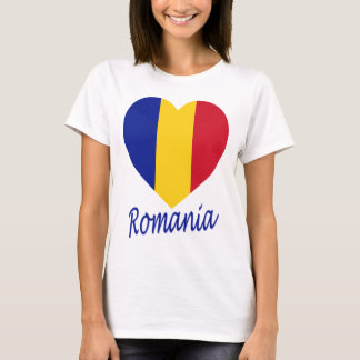 Romania Flag Heart T-Shirt