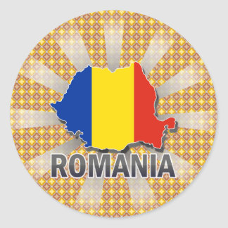 Romania Flag Map 2.0 Classic Round Sticker