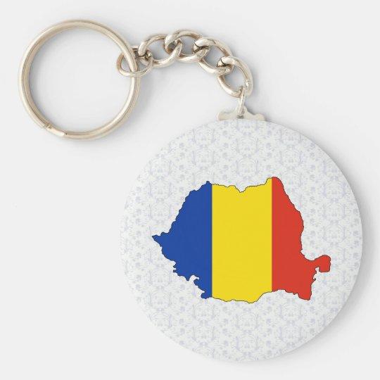 Romania Flag Map full size Basic Round Button Key Ring