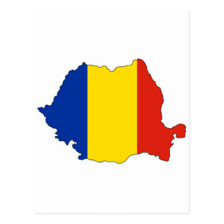 Romania flag map postcard
