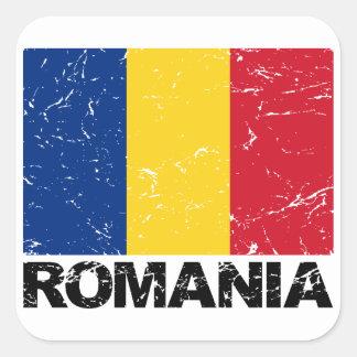 Romania Flag Vintage Square Sticker