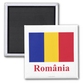 Romania Flag with Name in Romanian Magnet