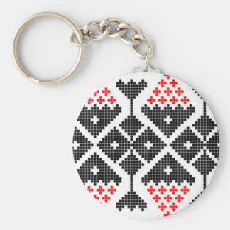 romania folk ethnic dance geometric motif costume basic round button key ring