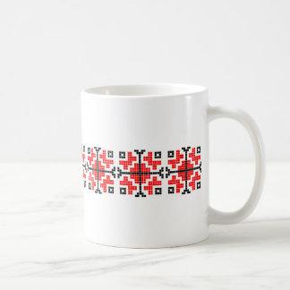 romania folk ethnic floral geometric motif costume basic white mug