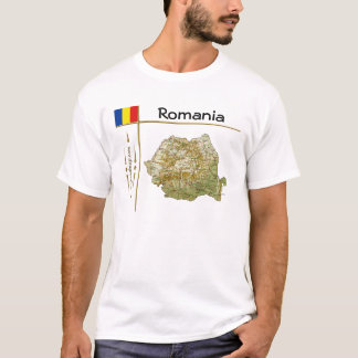 Romania Map + Flag + Title T-Shirt