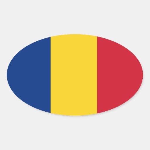 Romania Oval Flag Sticker  România autocolant