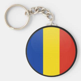 Romania quality Flag Circle Basic Round Button Key Ring
