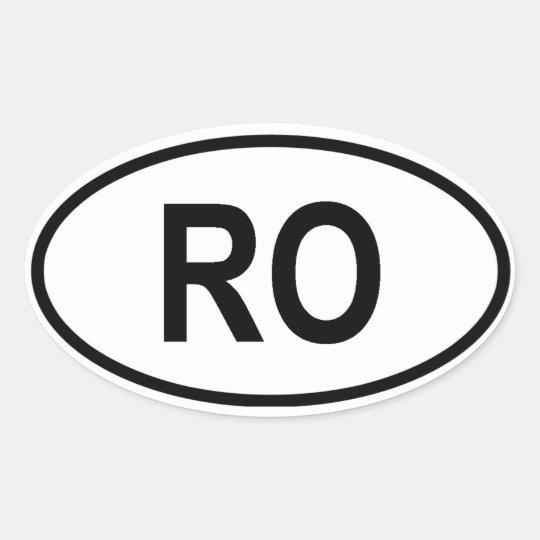 """Romania """"RO"""" Oval Sticker"""