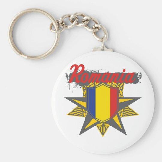 Romania Star Basic Round Button Key Ring