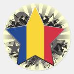Romania Star Round Stickers