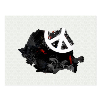 Romania Trendy Peace Sign with Romanian map Postcard