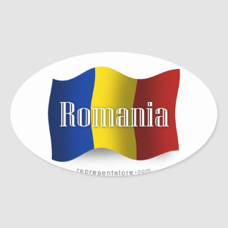 Romania Waving Flag Oval Sticker