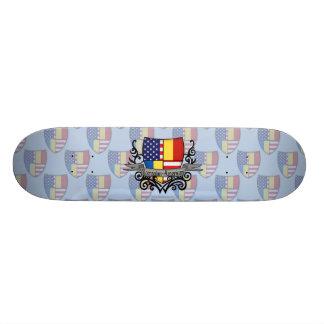 Romanian-American Shield Flag Skate Deck