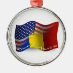 Romanian-American Waving Flag