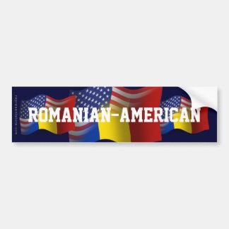 Romanian-American Waving Flag Bumper Sticker