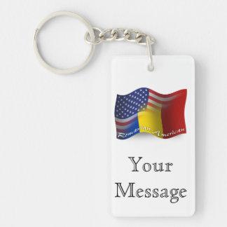 Romanian-American Waving Flag Key Ring