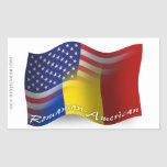 Romanian-American Waving Flag Rectangular Sticker