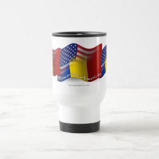 Romanian-American Waving Flag Travel Mug