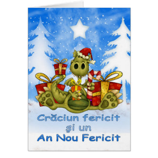 Romanian Christmas Card - Cute Dragon - Craciun Fe