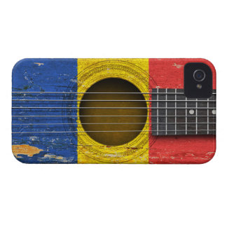 Romanian Flag on Old Acoustic Guitar iPhone 4 Cases