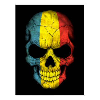 Romanian Flag Skull on Black Postcard