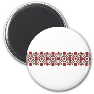romanian folk costume stitch geometric floral art 6 cm round magnet