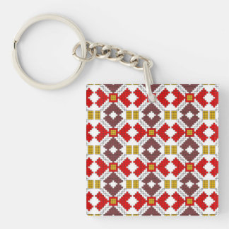romanian folk costume stitch geometric floral art key ring