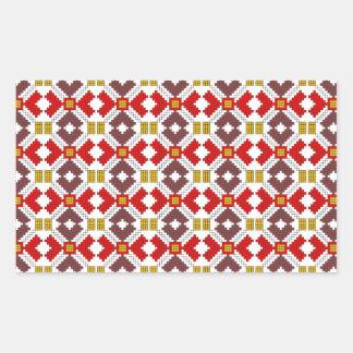 romanian folk costume stitch geometric floral art rectangular sticker