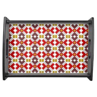 romanian folk costume stitch geometric floral art serving tray