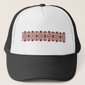 romanian folk costume stitch geometric floral art trucker hat