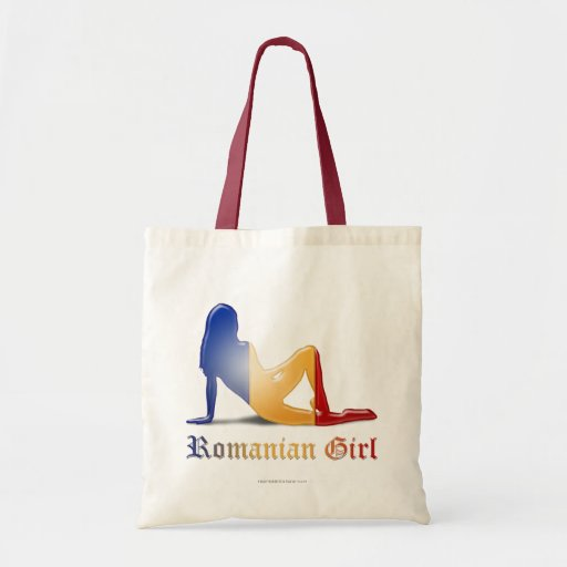 Romanian Girl Silhouette Flag Canvas Bags