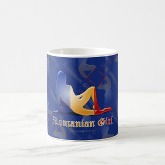 Romanian Girl Silhouette Flag Basic White Mug
