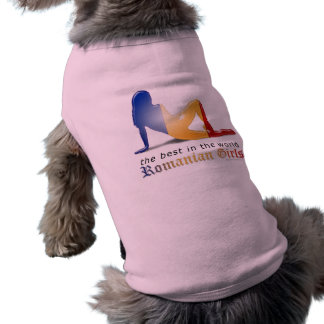 Romanian Girl Silhouette Flag Sleeveless Dog Shirt