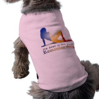 Romanian Girl Silhouette Flag Sleeveless Dog Shirt