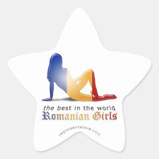 Romanian Girl Silhouette Flag Star Sticker