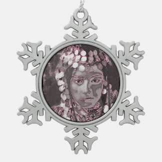 Romanian Gypsy Champagne Colors Pewter Snowflake Decoration