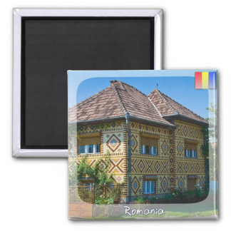 Romanian House Square Magnet