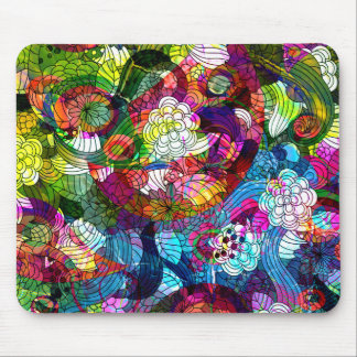 Romanic Colorful Retro Flower Design Mouse Mat
