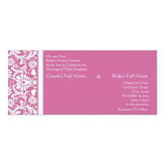 Romanitc Pink Damask Swirls Wedding Invitation