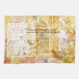 Romans 10:13 Inspirational Bible Verse art Tea Towels