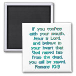 Romans 10:9 square magnet