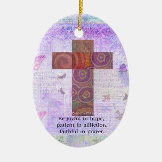 Romans 12:12 - Be joyful in hope, patient BIBLE Christmas Ornament