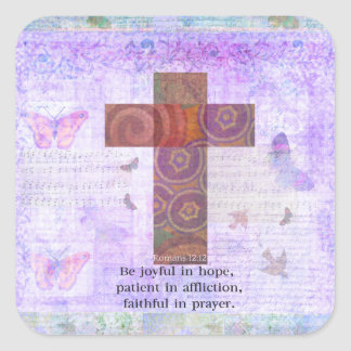 Romans 12:12 - Be joyful in hope, patient BIBLE Square Sticker