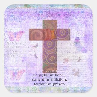 Romans 12:12 - Be joyful in hope, patient BIBLE Square Sticker
