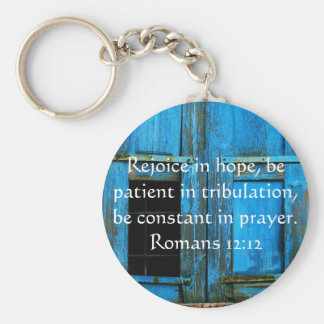 Romans 12:12 Bible Verse About Hope Basic Round Button Key Ring