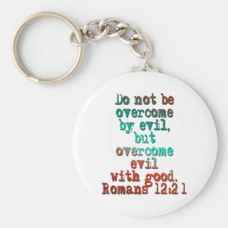 Romans 12:21 basic round button key ring