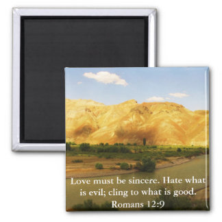 Romans 12:9   inspirational Bible verse Square Magnet
