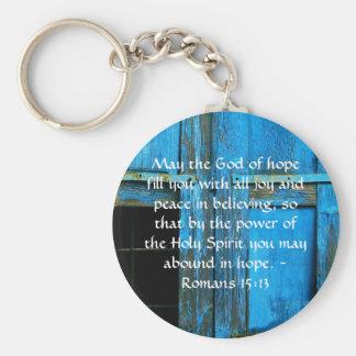 Romans 15:13  Inspirational Bible Verses Basic Round Button Key Ring