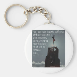 Romans 8:18 Glory to be Revealed Basic Round Button Key Ring